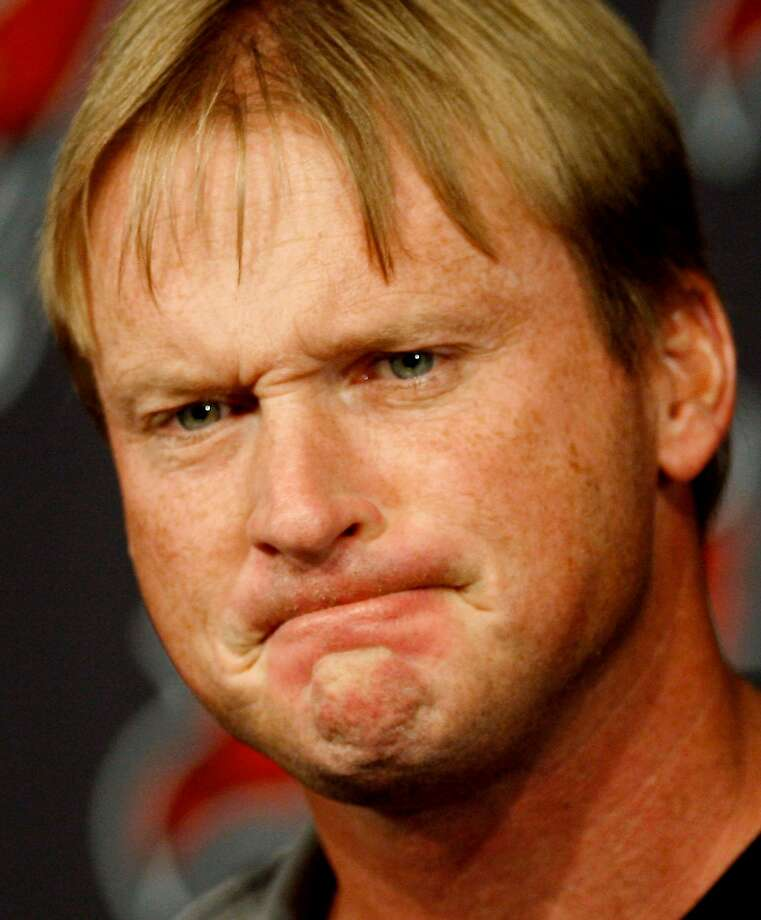 Tampa Bay Buccaneers head coach Jon Gruden grimaces as he speaks to the media during his weekly news conference Monday Dec. 29, 2008 in Tampa, Fla. The Buccaneers lost to the Oakland Raiders 31-24 on Sunday finishing the season at 9-7, and out of the playoffs. (AP Photo/Chris O'Meara) Photo: Chris O'Meara, AP