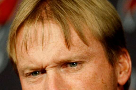 Tampa Bay Buccaneers head coach Jon Gruden grimaces as he speaks to the media during his weekly news conference Monday Dec. 29, 2008 in Tampa, Fla. The Buccaneers lost to the Oakland Raiders 31-24 on Sunday finishing the season at 9-7, and out of the playoffs. (AP Photo/Chris O'Meara)