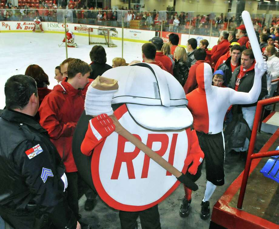 RPI students dressed as mascots circulate among the capacity crowd at RPI's Houston Field House for Saturday night's game against Yale January 29, 2011.   (John Carl D'Annibale / Times Union) Photo: John Carl D'Annibale / 00011908A