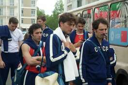"""Members of the 1972 Soviet men's basketball team arrived at the Olympic village for the Munich Games in a scene from """"Going Vertical,"""" a new Russian film that tells the story of the victory of the U.S.S.R. over the U.S. men's team in a disputed and controversial gold medal match."""