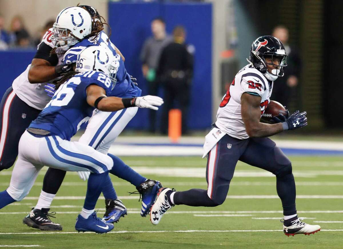 JOHN McCLAIN'S FINAL GRADES FOR TEXANS  RUNNING BACK  Lamar Miller failed to rush for 900 yards after reaching quadruple digits in his first season. He was second with 36 catches. Losing rookie D'Onta Foreman hurt the running game. Despite missing six games, he was second with 327 yards. Alfred Blue finished with 262 in what should have been his last season. Grade: D