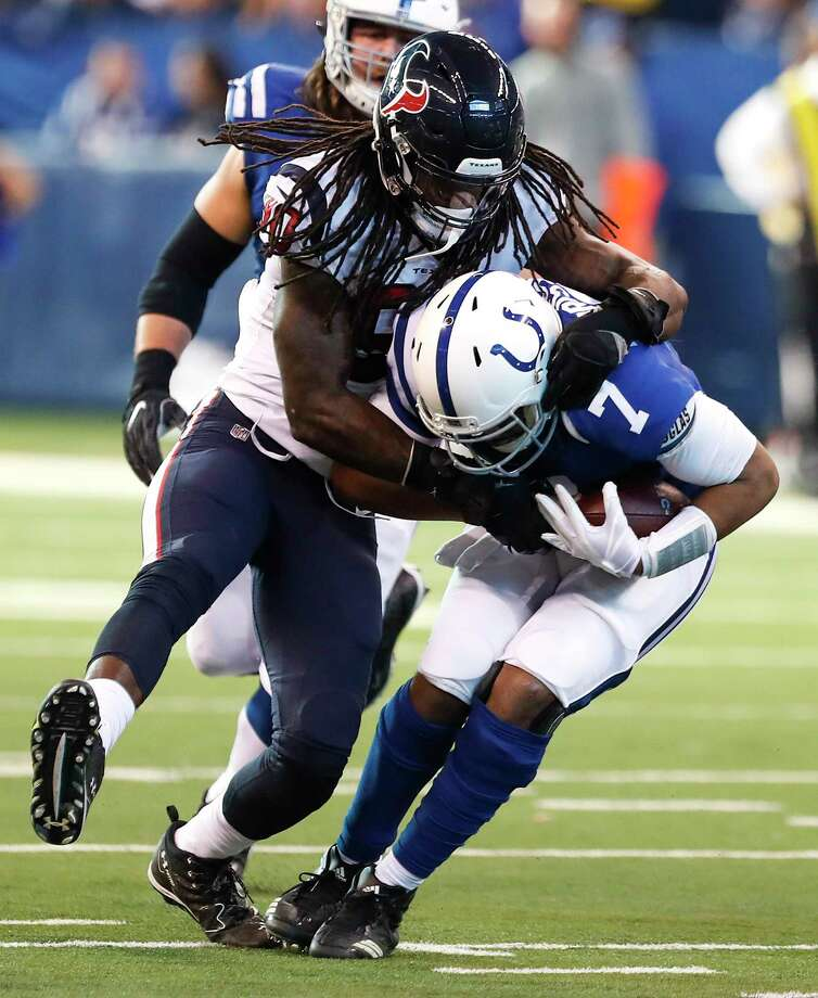 Houston Texans outside linebacker Jadeveon Clowney (90) sacks Indianapolis Colts quarterback Jacoby Brissett (7) during the first quarter of an NFL football game at Lucas Oil Stadium on Sunday, Dec. 31, 2017, in Indianapolis. Photo: Brett Coomer, Houston Chronicle / © 2017 Houston Chronicle