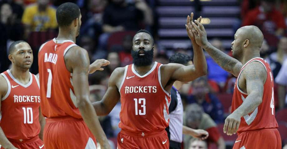 PHOTOS: Rockets game-by-gameRockets guard James Harden was cleared to play with a bruised right foot on Sunday, making the Rockets as close to full strength as they have been since Luc Mbah a Moute went out Dec. 13 with a dislocated shoulder.Browse through the photos to see how the Rockets have fared through each game this season. Photo: Michael Wyke/Associated Press