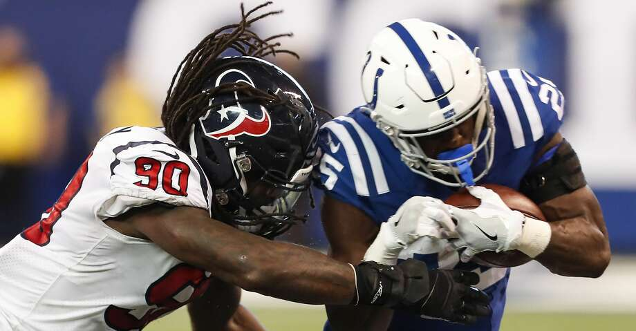 Houston Texans outside linebacker Jadeveon Clowney (90) knocks Indianapolis Colts running back Marlon Mack (25) out of bounds during the fourth quarter of an NFL football game at Lucas Oil Stadium on Sunday, Dec. 31, 2017, in Indianapolis. ( Brett Coomer / Houston Chronicle ) Photo: Brett Coomer/Houston Chronicle