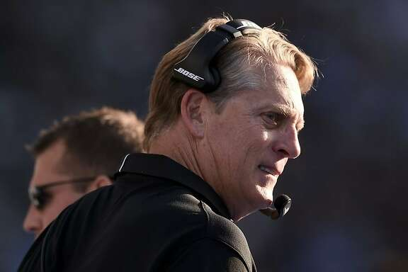 Oakland Raiders head coach Jack Del Rio looks on during the second half of an NFL football game against the Los Angeles Chargers, Sunday, Dec. 31, 2017, in Carson, Calif. (AP Photo/Kelvin Kuo)