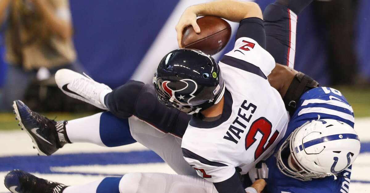 Quarterback T.J. Yates gave everything he had against the Colts, but it wasn't enough. He was better in the first half with 112 yards but added only 25 in the second without the injured DeAndre Hopkins and Will Fuller. Grade: F