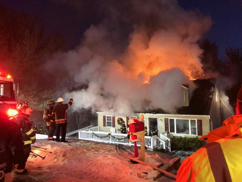 Danbury firefighters responded to a blaze at 12 Fleetwood Drive on Sunday, Dec. 31, 2017. Photo: Contributed