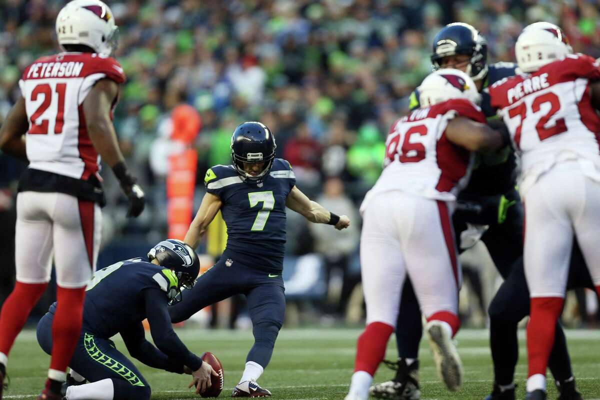 Seahawks Blair Walsh kicks the ball in the fourth quarter of the Seahawks final regular season game against the Arizona Cardinals, Sunday, Dec. 31, 2017 at CenturyLink Field.