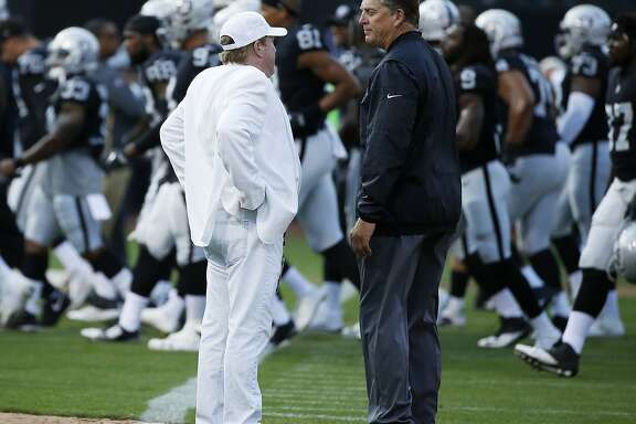 Oakland Raiders owner Mark Davis and head coach Jack Del Rio before an NFL preseason football game between the Oakland Raiders and the Los Angeles Rams on Saturday, Aug. 19, 2017, at the Oakland Coliseum in Oakland, Calif. The Raiders lost 24-21.
