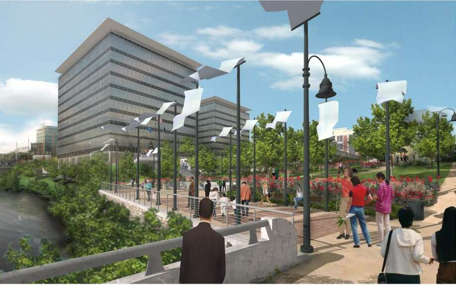 An architectural rendering of the proposed Gateway Harbor Point office buildings as would be seen from Pulaski Street. Photo: Contributed Photo / Stamford Advocate Contributed