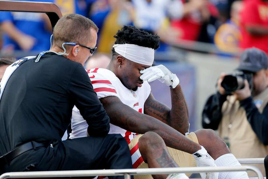 San Francisco 49ers wide receiver Marquise Goodwin (11) is carted off the field after a hit from Los Angeles Rams cornerback Blake Countess in the first half at the Los Angeles Memorial Coliseum on Sunday, Dec. 31, 2017. The 49ers won, 34-13. (Gary Coronado/Los Angeles Times/TNS) Photo: Gary Coronado, TNS