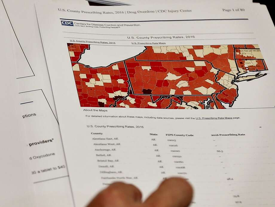 A map shows the rates of opioid prescriptions by county in Pennsylvania and neighboring states. Photo: Keith Srakocic, Associated Press