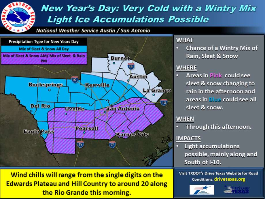 Bexar County was placed under a Winter Weather Advisory on Sunday, and it will remain in effect until 6 p.m., when the frozen precipitation blows through the area. Until then, San Antonians are urged to watch out for sleet accumulating on the ground level. Photo: National Weather Service