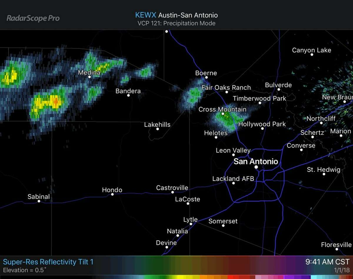 The freezing precipitation outside northwest Loop 1604 is now blowing in a southeasterly direction and might brush some parts of greater San Antonio late Monday morning, according to the National Weather Service.