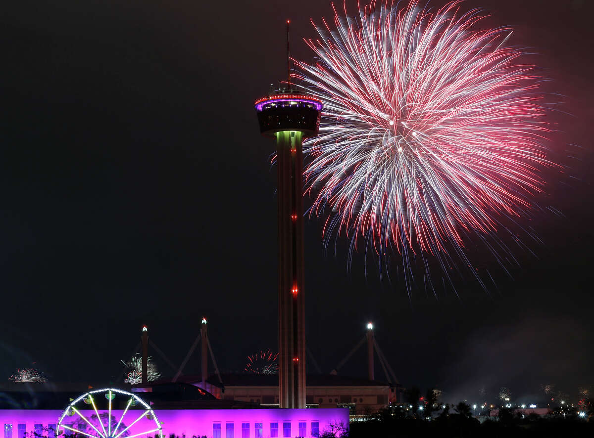 A view of the fireworks during San Antonio's