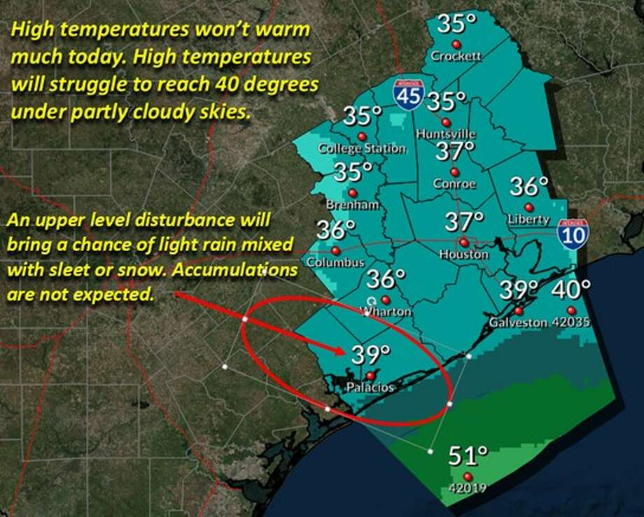 Houstonians woke up to temperatures in the high 20s and low 30s, with wind chills in the teens, according to the National Weather Service. It wasn't enough to break the record low of 25 degrees, set in 1979. (Courtesy of the National Weather Service)