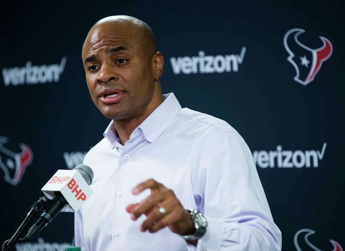 Houston Texans general manager Rick Smith speaks to the media from the media workroom at NRG Stadium, Monday, Jan. 1, 2018, in Houston. Smith announced that he will be taking an extended leave of absence to help care for his wife, Tiffany, who was diagnosed with breast cancer in 2017, Smith said.