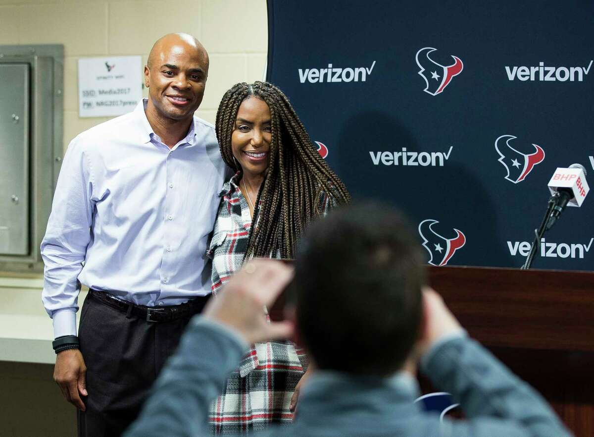 Houston Texans general manager Rick Smith and his wife, Tiffany, pose for a photo after a press conference in the media workroom at NRG Stadium, Monday, Jan. 1, 2018, in Houston. Rick Smith announced that he will be taking an extended leave of absence to help care for his wife, Tiffany, who was diagnosed with breast cancer in 2017, Smith said.