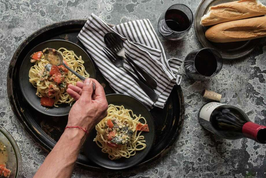 """Pasta con Sarde (pasta with sardines) from """"Paulie's"""" cookbook by Paul Petronella. Photo: Deb Smail"""