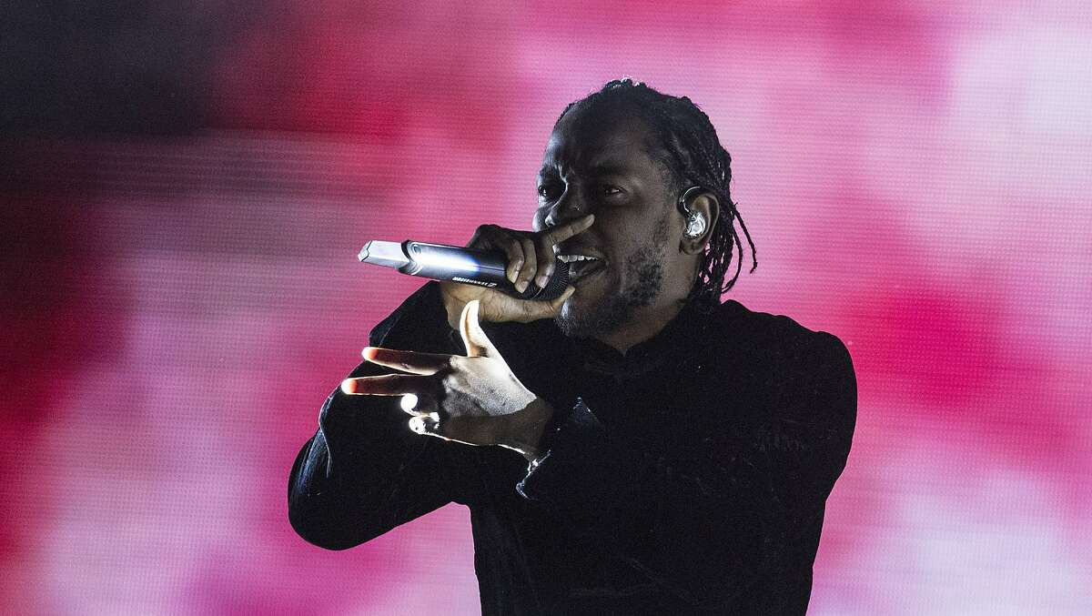 """Kendrick Lamar, on stage at the Coachella Valley Music and Arts Festival in Indio, Calif., on April 23, 2017, bringing his """"Championship Tour"""" to the Saratoga Performing Arts Center on June 9. (Brian van der Brug/Los Angeles Times/TNS)"""
