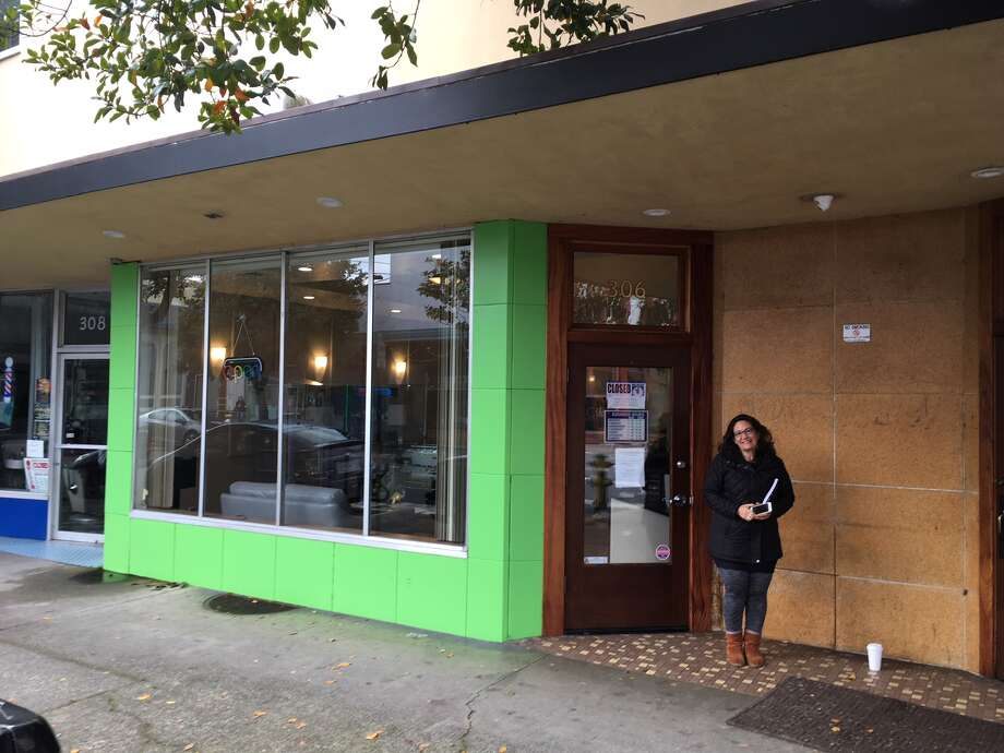 An hour before Ecocann Dispensary in Eureka opened its doors, only one customer was holding down a spot in line outside the three-month -old dispensary that was soon to open as the first permitted recreational shop in Humboldt County. Photo: Bill Disbrow / SFGATE