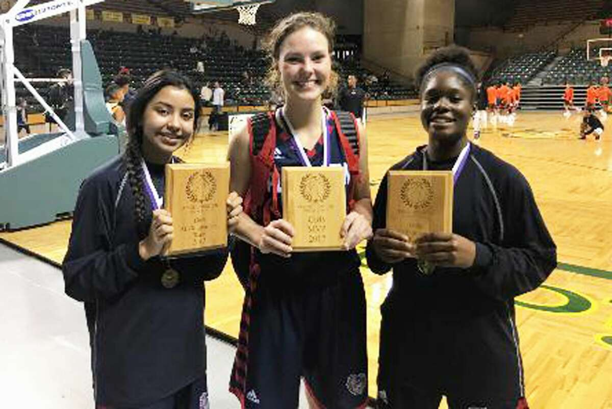 Plainview players named to the all-tournament team were, from left, Kristan Rincon, Jesse Long and Mahogany Nails.