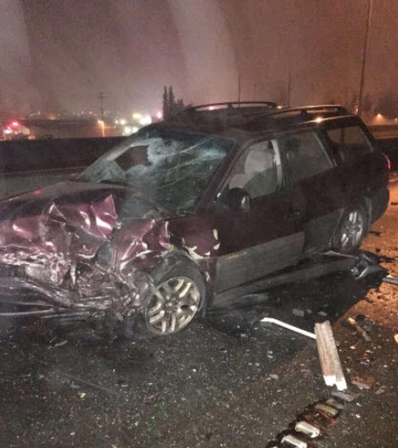 A New Year's Day wreck on an Auburn highway left three drivers injured and four cars damaged, according to the State Patrol. The wrong-way driver's Subaru is pictured. Photo: Washington State Patrol