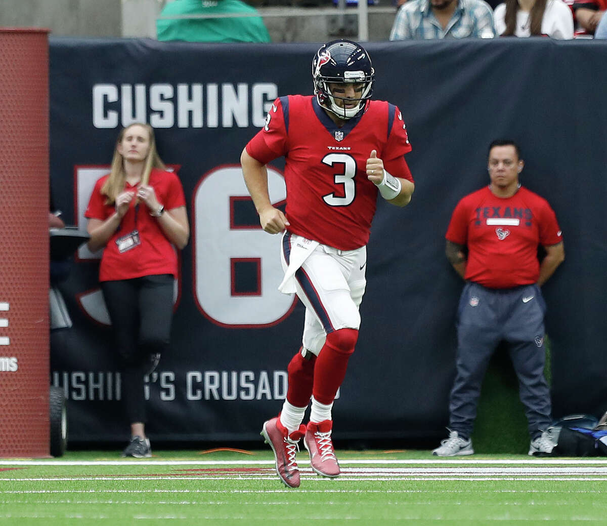Houston Texans quarterback Tom Savage (3) runs off the field after getting sacked and suffering a concussion during the second quarter of an NFL football game at NRG Stadium, Sunday, Dec. 10, 2017, in Houston. ( Karen Warren / Houston Chronicle )