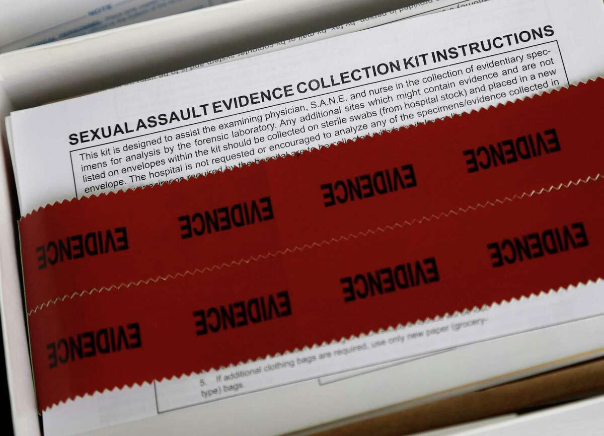 This Tuesday, Dec. 12, 2017 photo shows a sexual assault evidence collection kit at Rape Crisis Volunteers of Cumberland County in Fayetteville, N.C. Hundreds of kits that had been collected have been thrown away by Fayetteville police. Years after the kits were discarded, Fayetteville police have been working with a crisis group to call the victims and tell them what happened. (AP Photo/Gerry Broome)