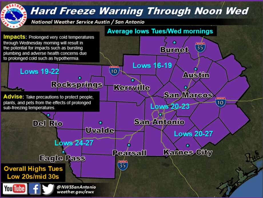 The National Weather Service issued a hard freeze warning that will last until Wednesday, Jan. 3, 2018, in the San Antonio area. Photo: NWS