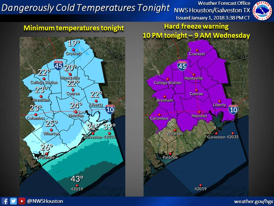 Houston remains under a hard freeze warning, extending through Wednesday morning.