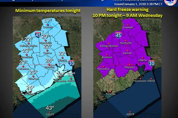 Houston remains under a hard freeze warning, extending through Wednesday morning.