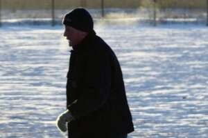 A man braves the extreme cold Tuesday to get in some morning exercise in Colonie.