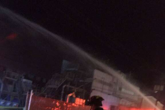 An early morning fire erupted Tuesday at a cardboard manufacturing plant near the San Jose International Airport, authorities said.
