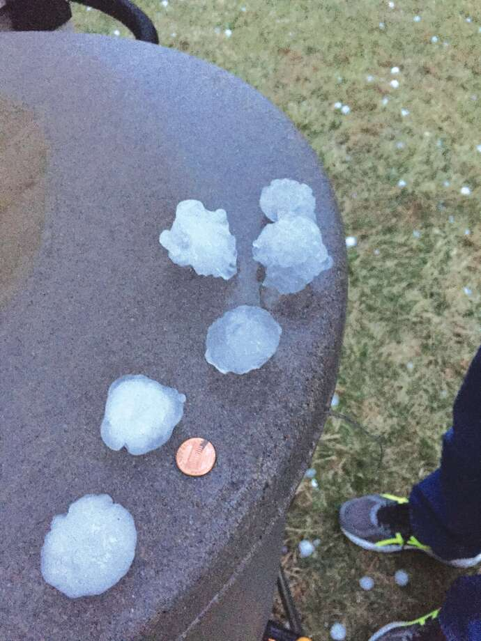 Hail stones collected by Intelligencer reporter Julia Biggs, who lives on the southeast side of Edwardsville, following the February 28 storm. Photo: Julia Biggs