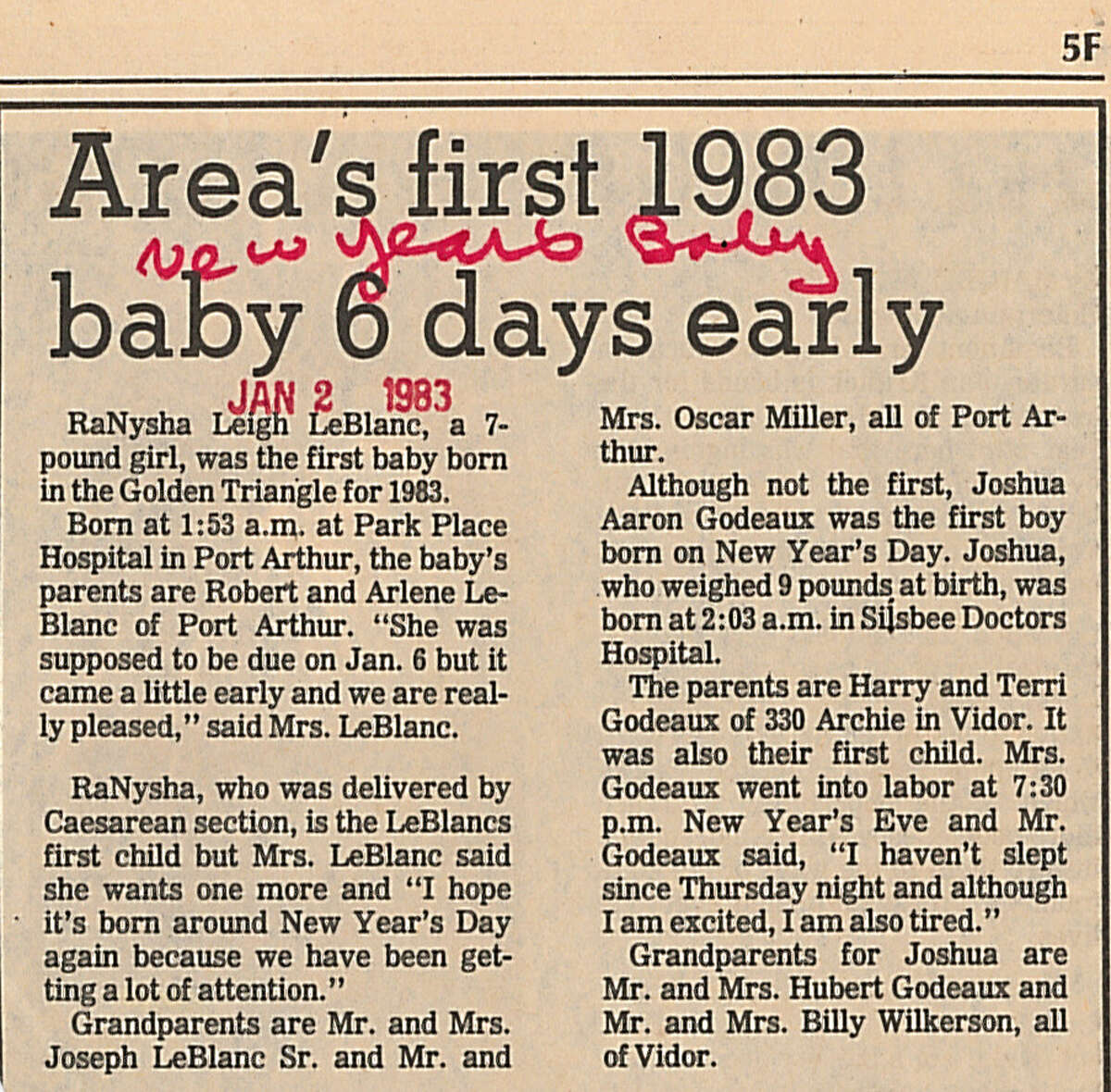 An article from The Beaumont Enterprise from RaNysha LeBlanc Roberts' birthday as the first Golden Triangle baby of 1983. Enterprise file photo