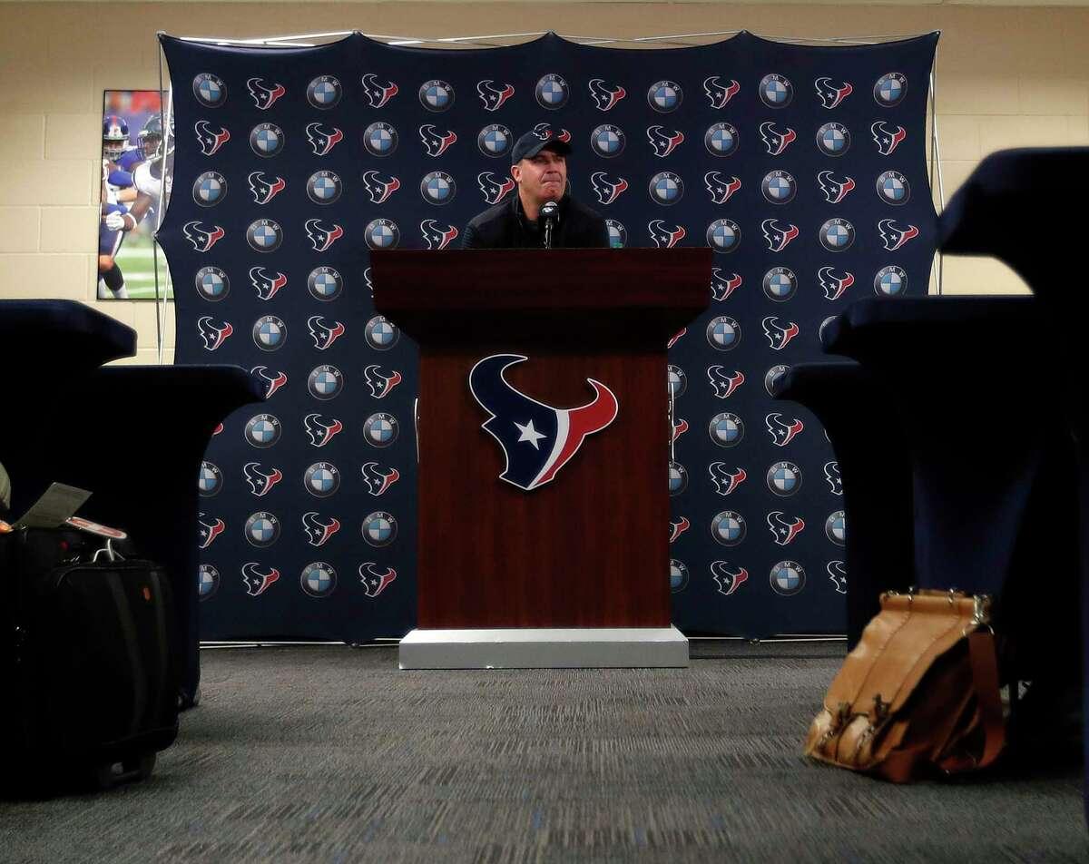 Houston Texans head coach Bill O'Brien speaks to the media at NRG Stadium, Tuesday, Jan. 2, 2018, in Houston.