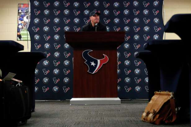 Houston Texans head coach Bill O'Brien speaks to the media at NRG Stadium, Tuesday, Jan. 2, 2018, in Houston.
