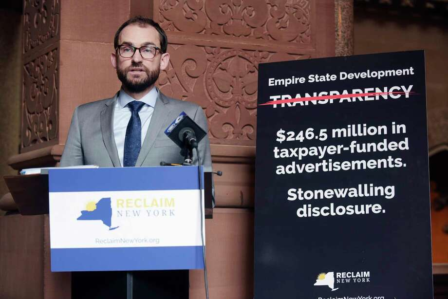 Brandon Muir, executive director of Reclaim New York, talks to the media about a lawsuit the group filed during a press conference at the Capitol on Tuesday, Jan. 2, 2018, in Albany, N.Y.  The group is suing Empire State Development over a FOIA request.   (Paul Buckowski / Times Union) Photo: Albany Times Union