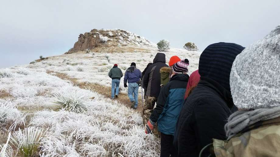 "Davis Mountains State Park: ""Our amazing First Day hikers didn't let a little chilly weather stop them from taking on the mountain! Happy New Year 2018!"" Photo: Facebook/Texas Parks And Wildlife Department"