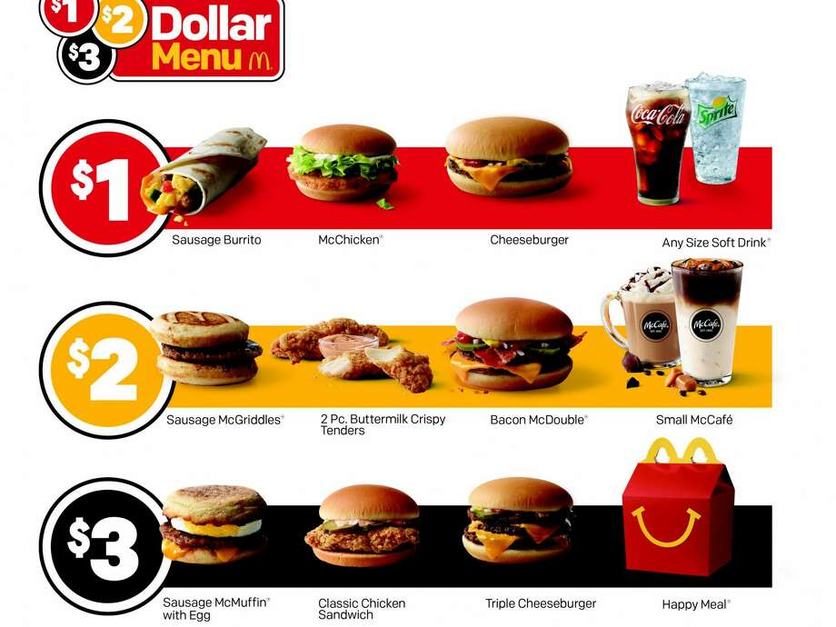 "McDonald's ""$1, $2, $3 menu"" debuts on Thursday — but some locations are already serving the new value menu. Photo: McDonald's"