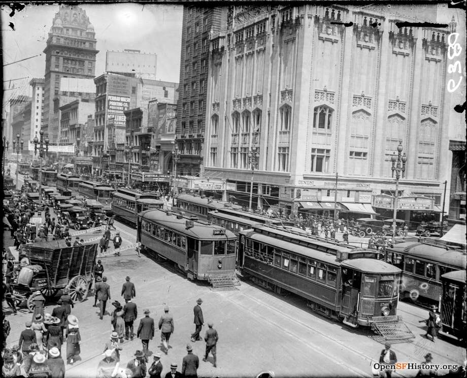 781c25e046eb A busy day on Market and 4th streets in 1918. Photo courtesy of  OpenSFHistory.
