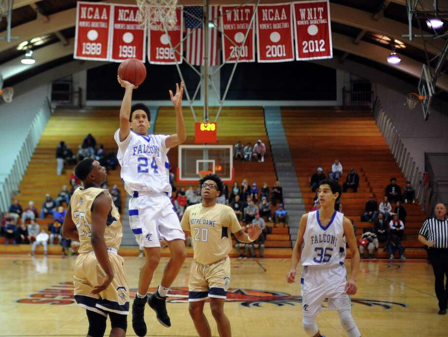 The Ludlowe boys basketball team visits McMahon on Wednesday night at 7. The Falcons are looking for their first win of the season. Photo: Christian Abraham / Hearst Connecticut Media / http://connpost.com/