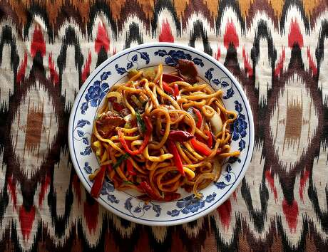 Stir fried noodles with vegetables & beef at Sama Uyghur in Union City, one of the only Uighur restaurants in the Bay Area. Photo: Liz Hafalia, The Chronicle