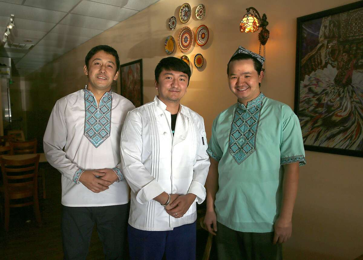 Co-owners and chefs Pattar Dilmurat (left),Akbar Amat(middle), and Aikelamu Ainiwaer (right) at Sama Uyghur, one of the only Uyghur (northwest Chinese and Muslim) restaurants in the Bay Area on Monday, December 18, 2017, in Union City, Ca.