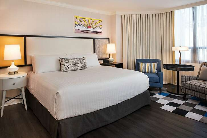 The Bristol Hotel in downtown San Diego took inspiration from 1960s pop art, the Beatles and surf culture for the recent renovation of its 114 guest rooms.