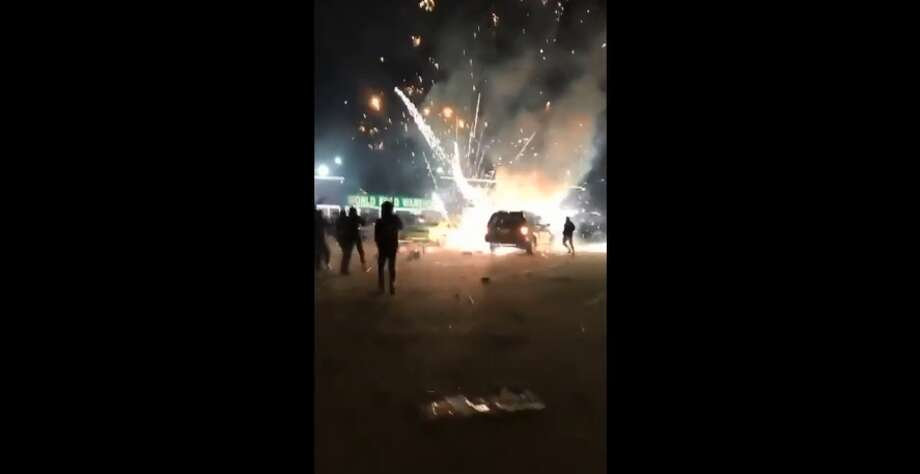 Car packed with fireworks burst into flames in Houston ...