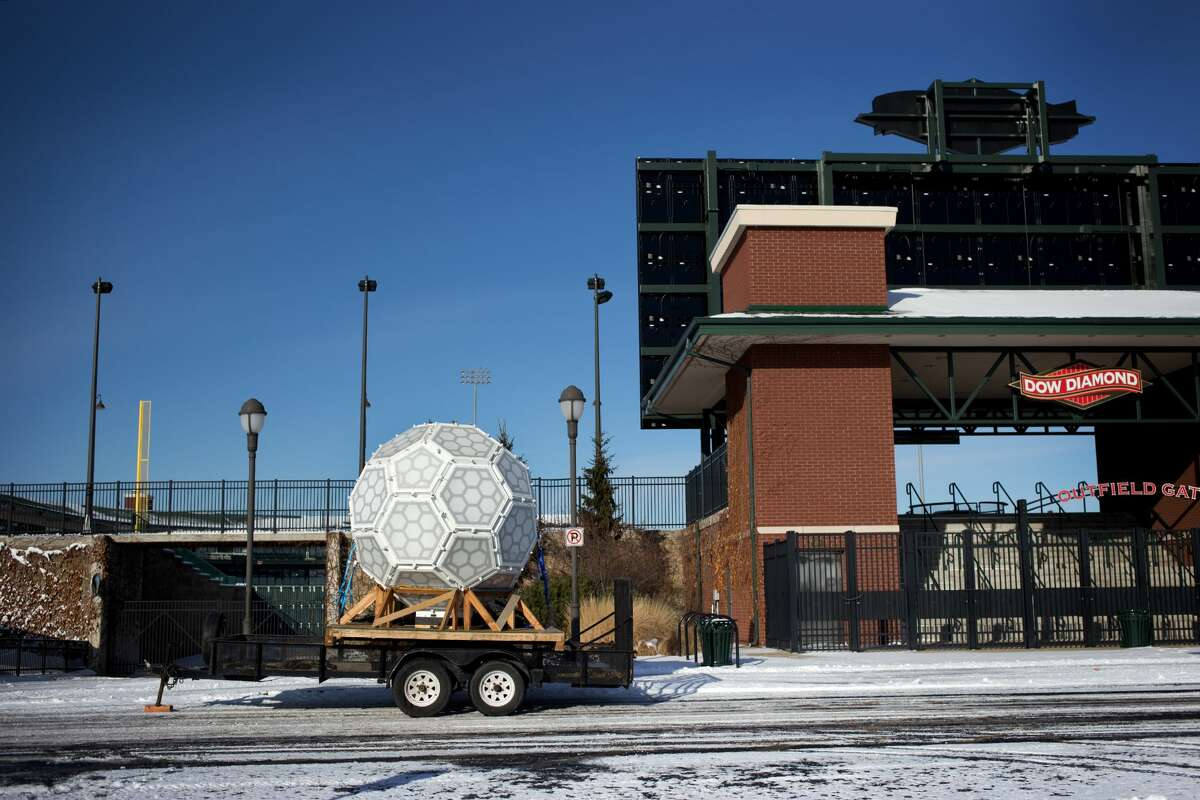 Sound Productions arrives at Dow Diamond with the New Year?•s Eve ball on Sunday, Dec. 30, 2017. The ball has 2.1 million lights and will be lowered 180 feet during the Midnight on Main celebration. (Samantha Madar/for the Daily News)
