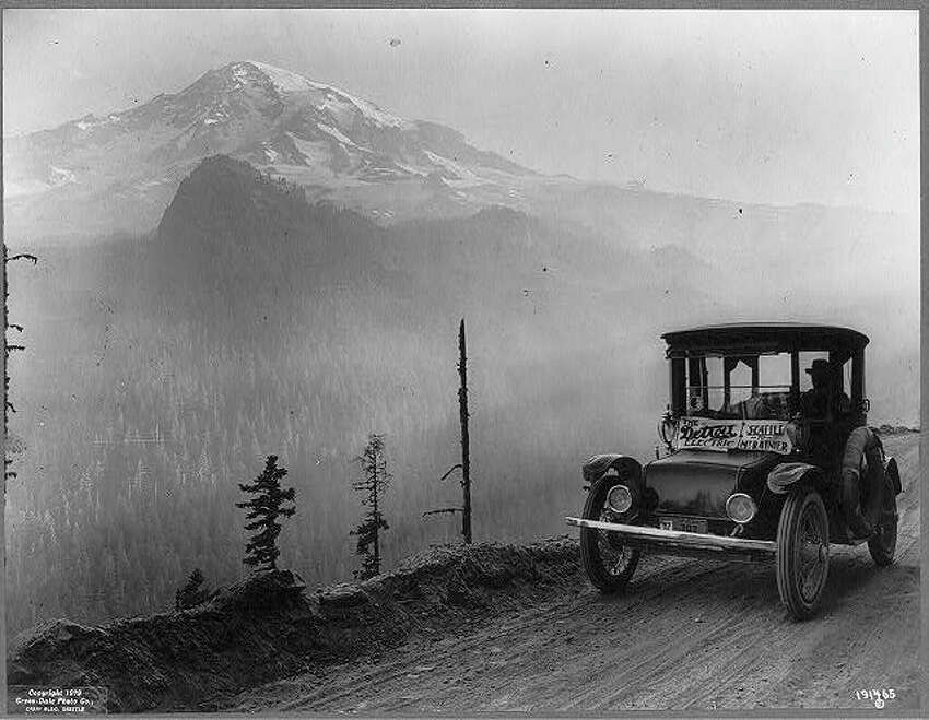 A Detroit Electric automobile drives from Seattle to Mt. Rainier as an advertising stunt. Uncredited, from the Library of Congress collections