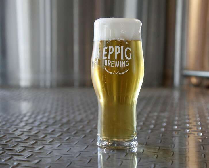 A glass of pilsner at Eppig Brewing, said to be one of the best versions of the pilsner style in San Diego.